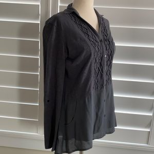 Anthropologie   Meadow Rue Grey button up tunic style blouse top long sleeve